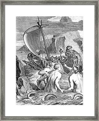 Odysseus Escapes Charms Of The Sirens Framed Print by Photo Researchers