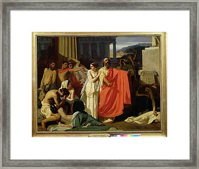 Oedipus And Antigone Being Exiled To Thebes, 1843 Oil On Canvas Framed Print by Ernest Hillemacher