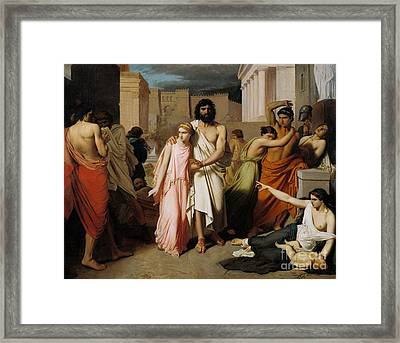 Oedipus And Antigone Or The Plague Of Thebes  Framed Print by Charles Francois Jalabert