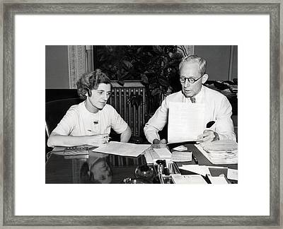 Office Scene Framed Print by Underwood Archives