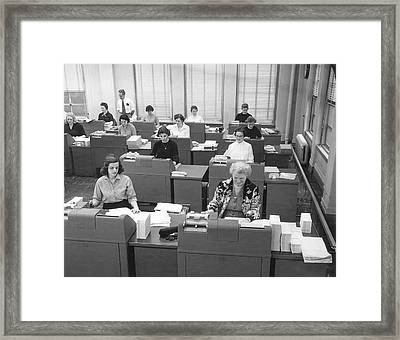 Office Workers Entering Data Framed Print by Underwood Archives