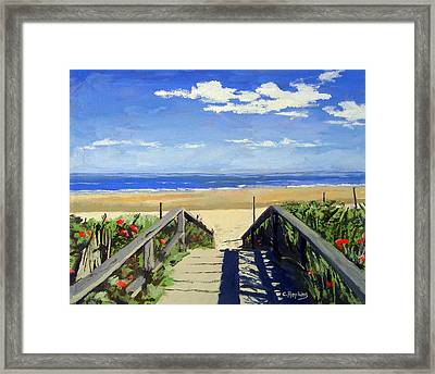 Ogunquit Beach Walkway Ogunquit Maine Framed Print by Christine Hopkins