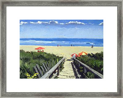 Ogunquit Footbridge Beach Ogunquit Maine Framed Print by Christine Hopkins