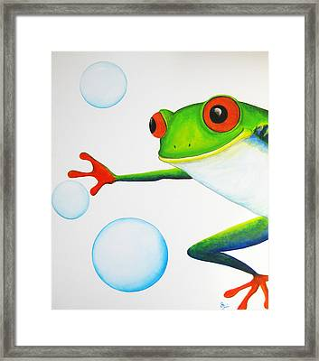 Oh Bubbles Framed Print by Oiyee At Oystudio