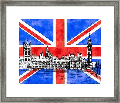 Oh So British - Union Jack And Westminster Framed Print by Mark E Tisdale