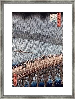 Ohashi Sudden Shower At Atake Framed Print by Ando Hiroshige