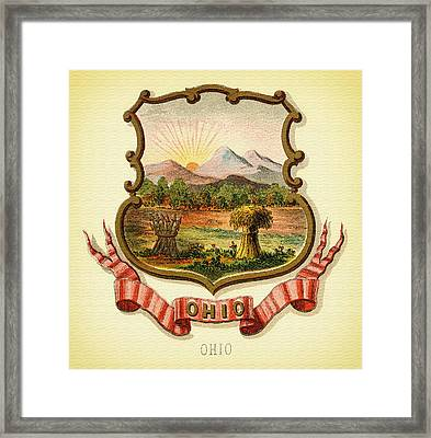 Ohio Coat Of Arms - 1876 Framed Print by Mountain Dreams