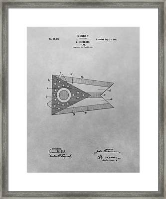 Ohio Flag Patent Drawing Framed Print by Dan Sproul