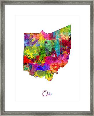 Ohio Map Framed Print by Michael Tompsett