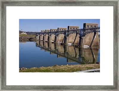 Ohio River Dam Framed Print by Chris Flees