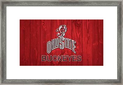 Ohio State Buckeyes Barn Door Framed Print by Dan Sproul