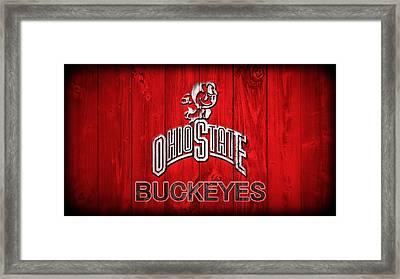 Ohio State Buckeyes Barn Door Vignette Framed Print by Dan Sproul