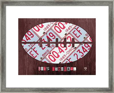 Ohio State Buckeyes Football Recycled License Plate Art Framed Print by Design Turnpike