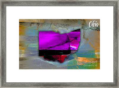 Ohio State Map Watercolor Framed Print by Marvin Blaine
