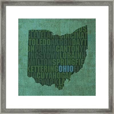 Ohio State Word Art On Canvas Framed Print by Design Turnpike