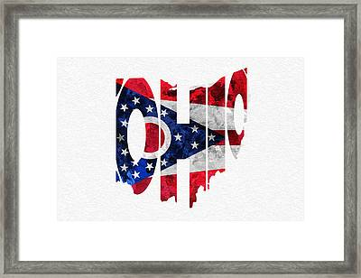 Ohio Typographic Map Flag Framed Print by Ayse Deniz