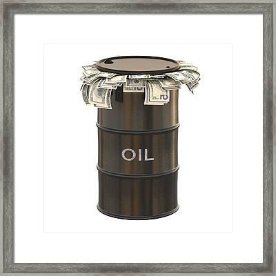 Oil Barrel With Us Dollars Framed Print by Ktsdesign