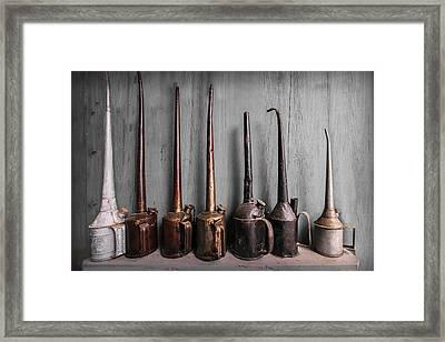 Oil Can Collection Framed Print by Debra and Dave Vanderlaan