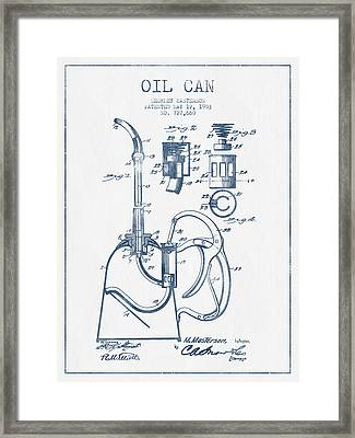 Oil Can Patent From 1903 - Blue Ink Framed Print by Aged Pixel