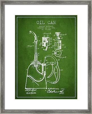 Oil Can Patent From 1903 - Green Framed Print by Aged Pixel