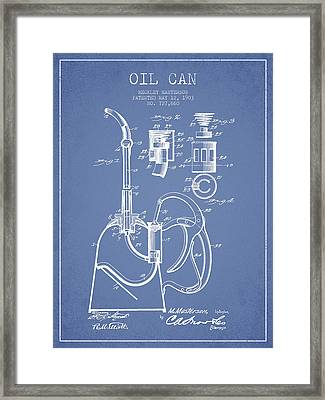 Oil Can Patent From 1903 - Light Blue Framed Print by Aged Pixel