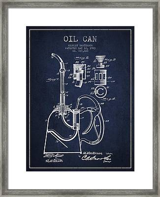 Oil Can Patent From 1903 - Navy Blue Framed Print by Aged Pixel