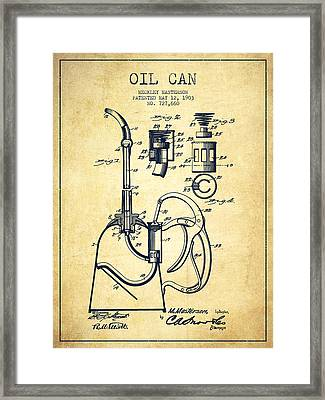 Oil Can Patent From 1903 - Vintage Framed Print by Aged Pixel