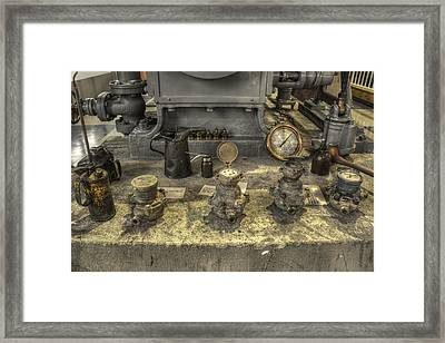 Oil Cans Valves And Gauges - Oh My Framed Print by Jason Politte