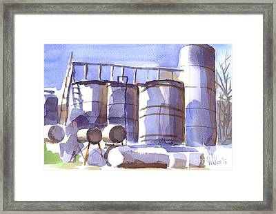 Oil Depot In April Framed Print by Kip DeVore