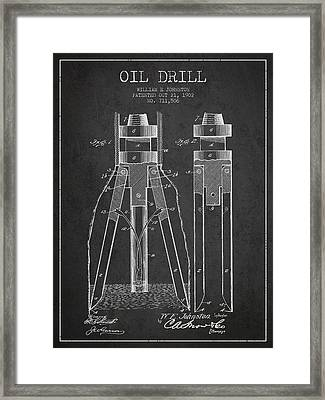 Oil Drill Patent From 1902 - Dark Framed Print by Aged Pixel