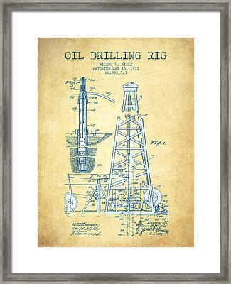 Oil Drilling Rig Patent From 1911 - Vintage Paper Framed Print by Aged Pixel