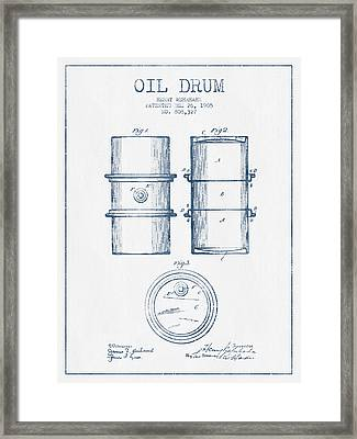 Oil Drum Patent Drawing From 1905 -  Blue Ink Framed Print by Aged Pixel