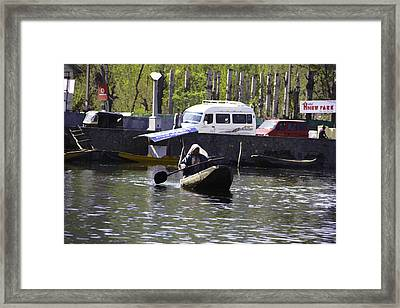 Oil Painting - Kashmiri Lady Rowing A Small Boat From The Shore Of The Dal Lake Framed Print by Ashish Agarwal