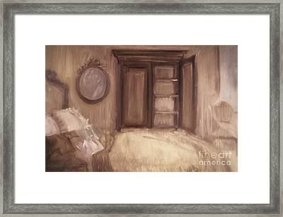 Oil Painting Of A Bedroom/ Digitally Painting Framed Print by Sandra Cunningham