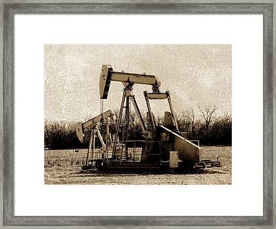 Oil Pump Jack In Sepia Framed Print by Ann Powell