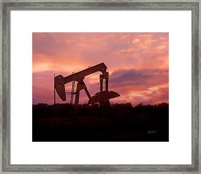 Oil Pump Jack Sunset Framed Print by Ann Powell
