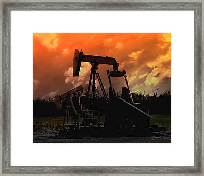 Oil Pump Jack With Colorful Sky Framed Print by Ann Powell