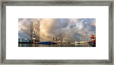 Oil Rig In Esbjerg Harbor Denmark Framed Print by Frank Bach