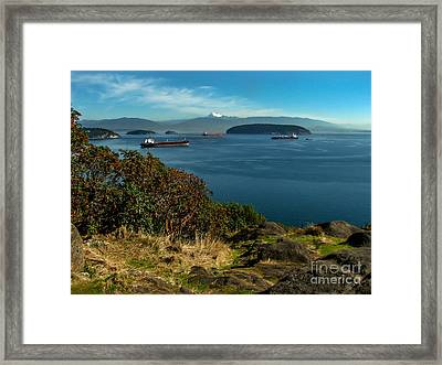 Oil Tankers Waiting Framed Print by Robert Bales