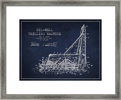 Oil Well Drilling Machine Patent From 1898 - Navy Blue Framed Print by Aged Pixel