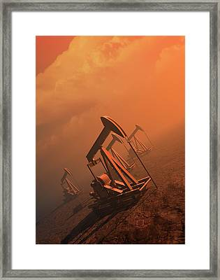 Oil Well Pumps Framed Print by Victor Habbick Visions