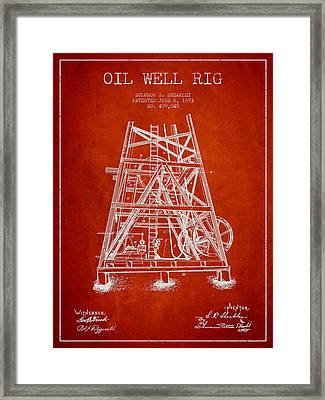 Oil Well Rig Patent From 1893 - Red Framed Print by Aged Pixel