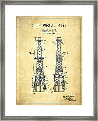 Oil Well Rig Patent From 1927 - Vintage Framed Print by Aged Pixel