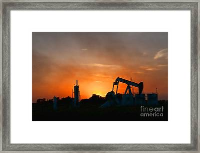 Oilfield Sunset Framed Print by Debra McKinnon