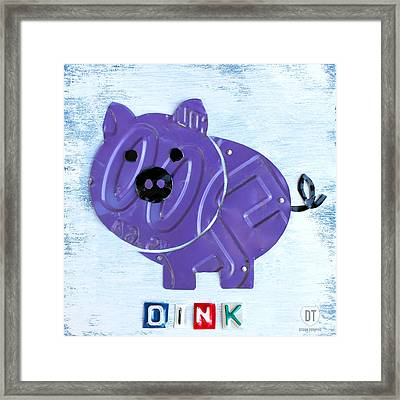 Oink The Pig License Plate Art Framed Print by Design Turnpike