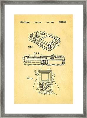 Okada Nintendo Gameboy 2 Patent Art 1993 Framed Print by Ian Monk