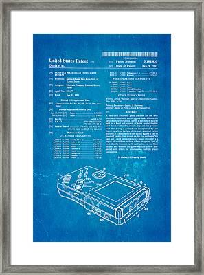 Okada Nintendo Gameboy Patent Art 1993 Blueprint Framed Print by Ian Monk