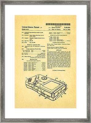 Okada Nintendo Gameboy Patent Art 1993 Framed Print by Ian Monk