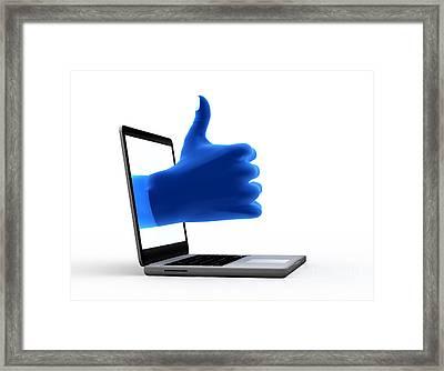 Okay Gesture Blue Hand From Screen Framed Print by Michal Bednarek