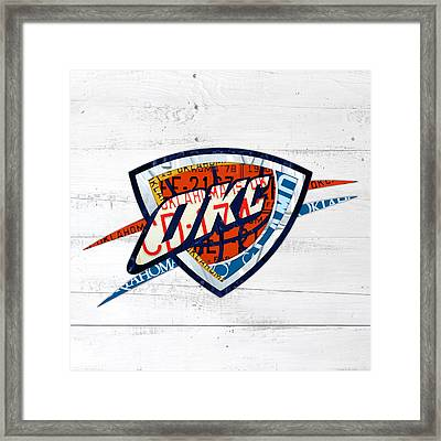 Okc Thunder Basketball Team Retro Logo Vintage Recycled Oklahoma License Plate Art Framed Print by Design Turnpike